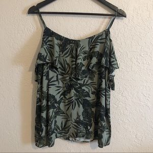 Old navy relaxed leaf print off shoulder top